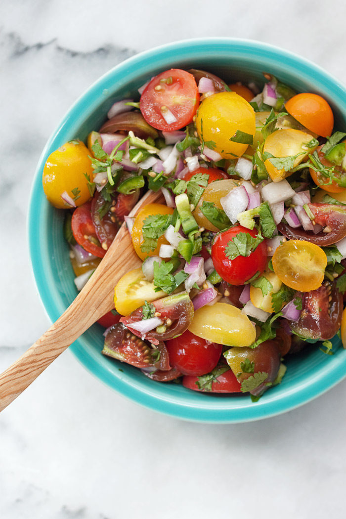 Sweet cherry tomatoes are perfection in this fast and easy recipe for fresh homemade pico de gallo