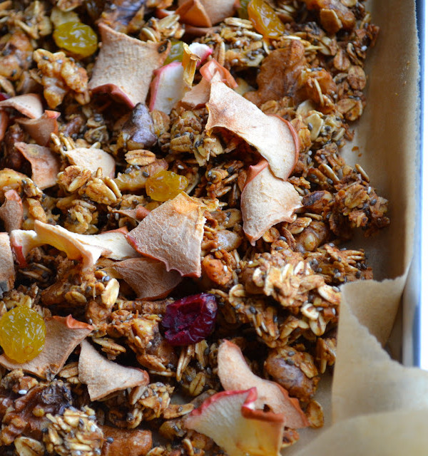 65 Homemade Granola Recipes, like this Maple Apple Crunchy Superfood Granola from Taste, Love, Nourish