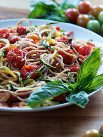 Zoodles & Noodles with Burst Cherry Tomato Sauce