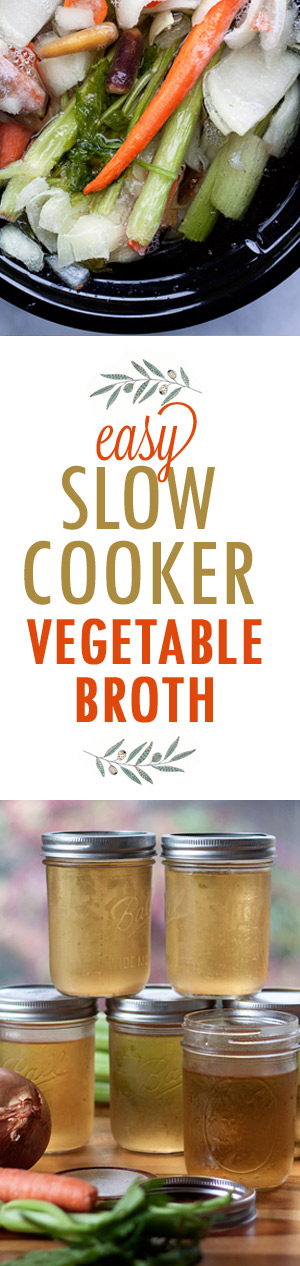 How to Make Vegetable Broth in the Slow Cooker - Grab your veggie scraps and your Crock Pot and make up your very own batch of golden-delicious veggie broth! It's easy.