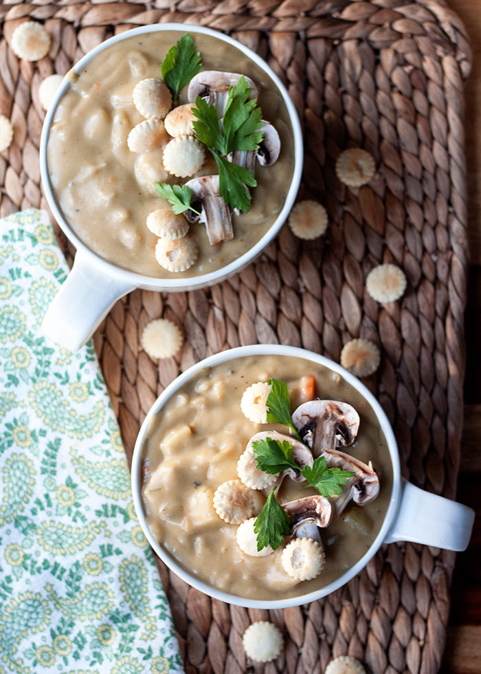 "Rich & Creamy Mushroom ""Clam"" Chowder recipe - No dairy (or seafood!) needed for this velvety vegan chowder. Thick, rich, and comforting - and very simple to make."