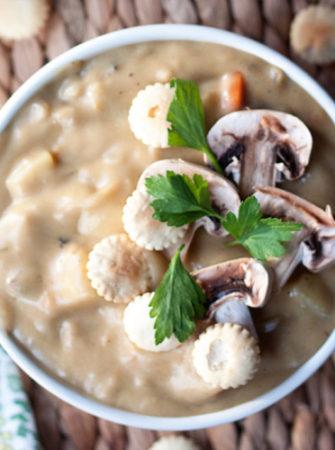 """Rich & Creamy Mushroom """"Clam"""" Chowder recipe"""