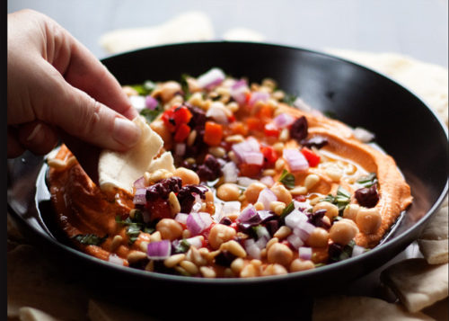 Loaded Roasted Red Pepper Hummus recipe