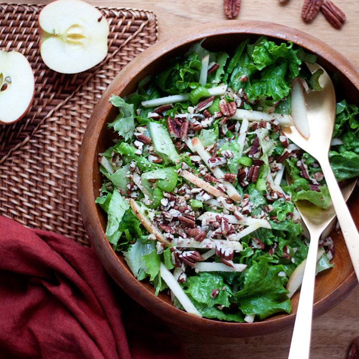 Simple Fall Green Salad with Apples & Pecans image