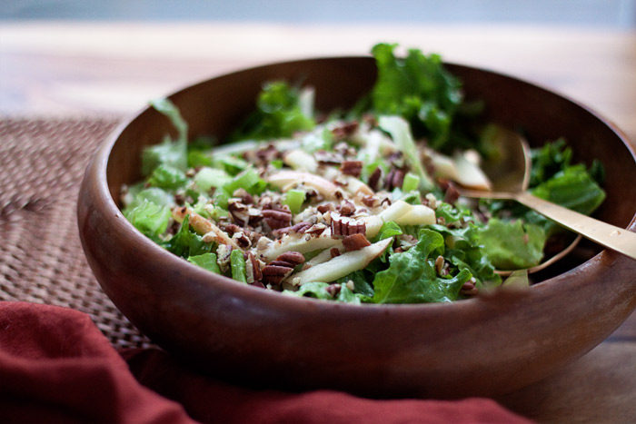 Simple Fall Green Salad with Apples & Pecans recipe - A refreshing side salad with crisp apples, toasted pecans, crunchy celery, all dressed with maple-cider vinaigrette. A family favorite! (vegan)