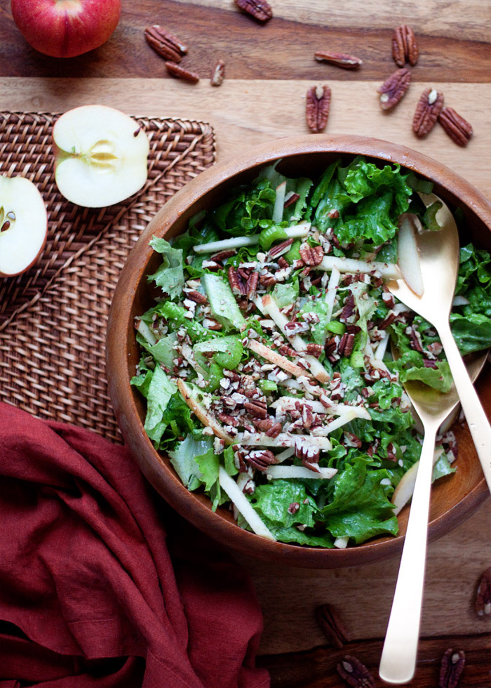 Simple Fall Green Salad with Apples & Pecans recipe