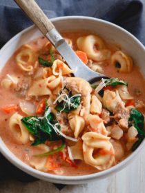 Slow Cooker Creamy Tortellini Spinach Soup recipe