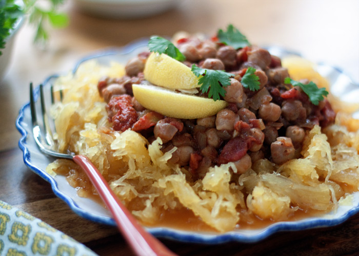 Slow Cooker Spaghetti Squash with Chana Masala recipe
