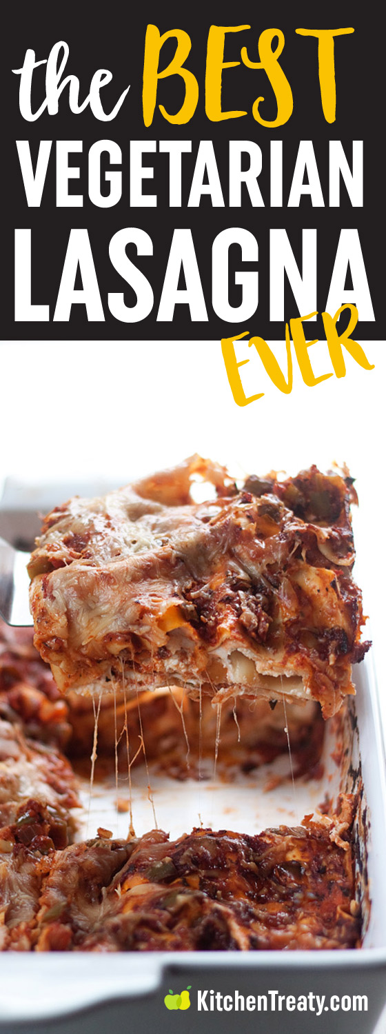 The Best Vegetarian Lasagna Recipe Ever - Simple is best! Layered pasta cradles a trio of cheeses and sweet Italian tomato sauce. Baked up until bubbling and gooey. Carnivores love it too!