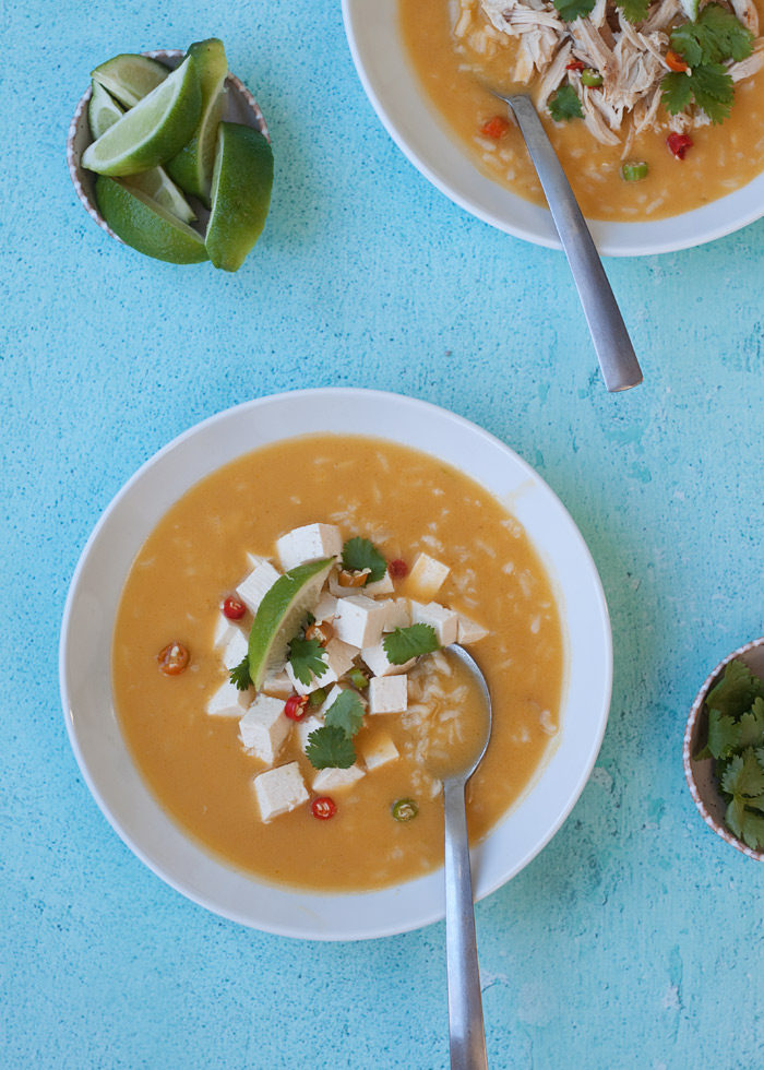 Coconut Lime Rice Soup (2 Ways!) - Kitchen Treaty