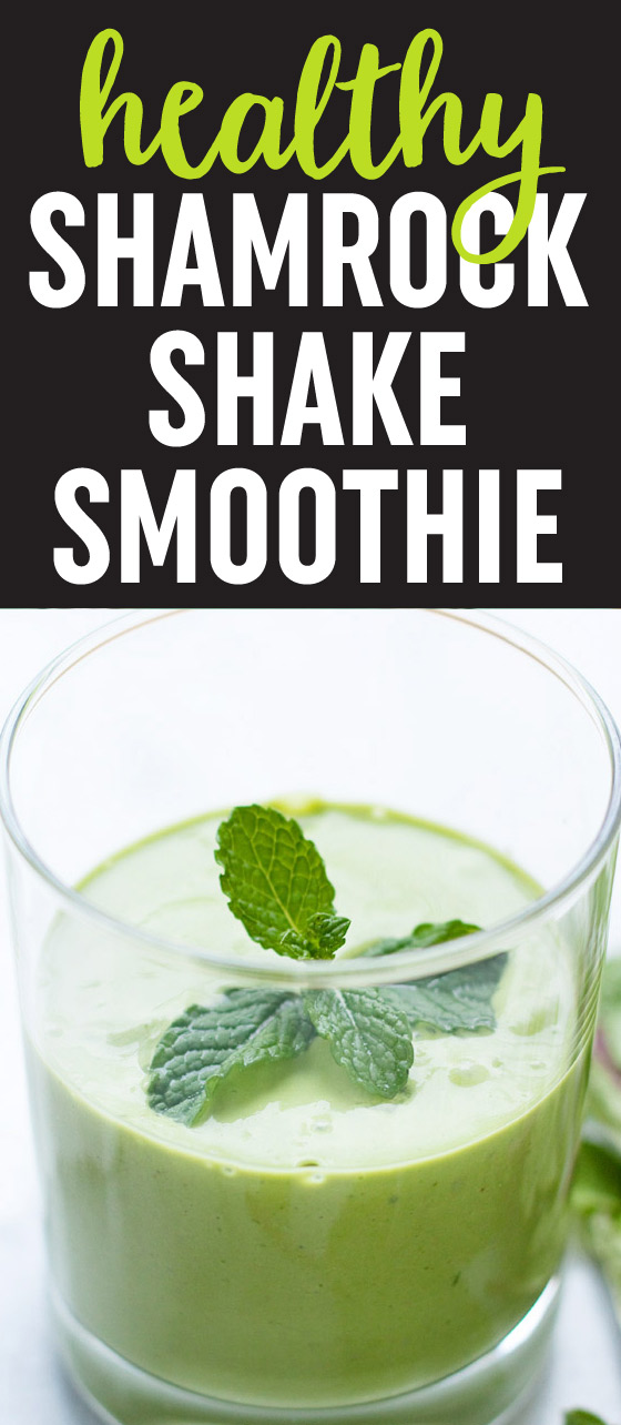 Healthy Shamrock Shake Smoothie recipe - A super simple smoothie recipe that's dairy-free & vegan, and perfect for St. Patty's Day! Flavored with vanilla and mint; colored naturally green with spinach; rich and creamy with a banana and cashew base.