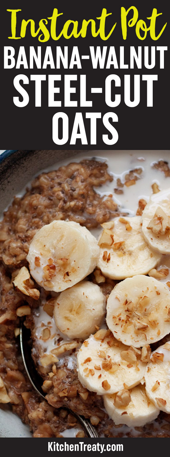 Instant Pot Banana Walnut Steel Cut Oats recipe - Steel cut oats cook up perfectly creamy in the pressure cooker. This recipe also adds banana + walnuts, flaxseed meal, and chia seeds for a serious omega-3 boost. Vegan; gluten-free.