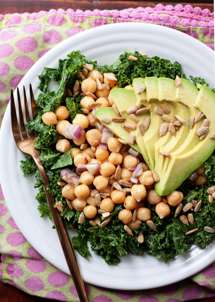 Massaged Kale Salad with Avocado & Chickpeas recipe - The 10-minute vegan meal I can't stop making: Kale massaged with avocado then topped with a simple chickpea salad and more avocado. (More avocado is always a good thing, am I right?)