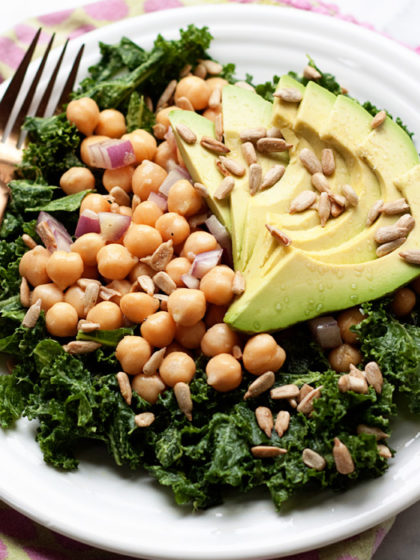 Massaged Kale Salad with Avocado & Chickpeas