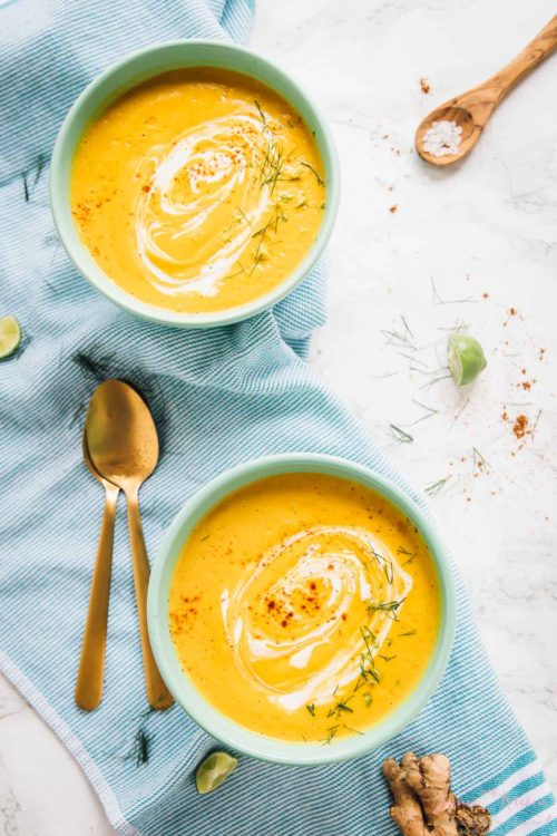 9 Creative Carrot Soup Recipes! // Here, we have Roasted Carrot Soup from @jessicaskitchen. This simple soup is made entirely using a sheet pan and a blender. No pots, no stovetop!