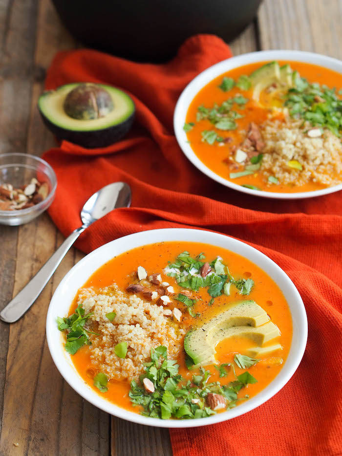 9 Creative Carrot Soup Recipes! // Here, we have Creamy Carrot Soup with Red Curry from @rwallace4. Love how loaded this soup can be!