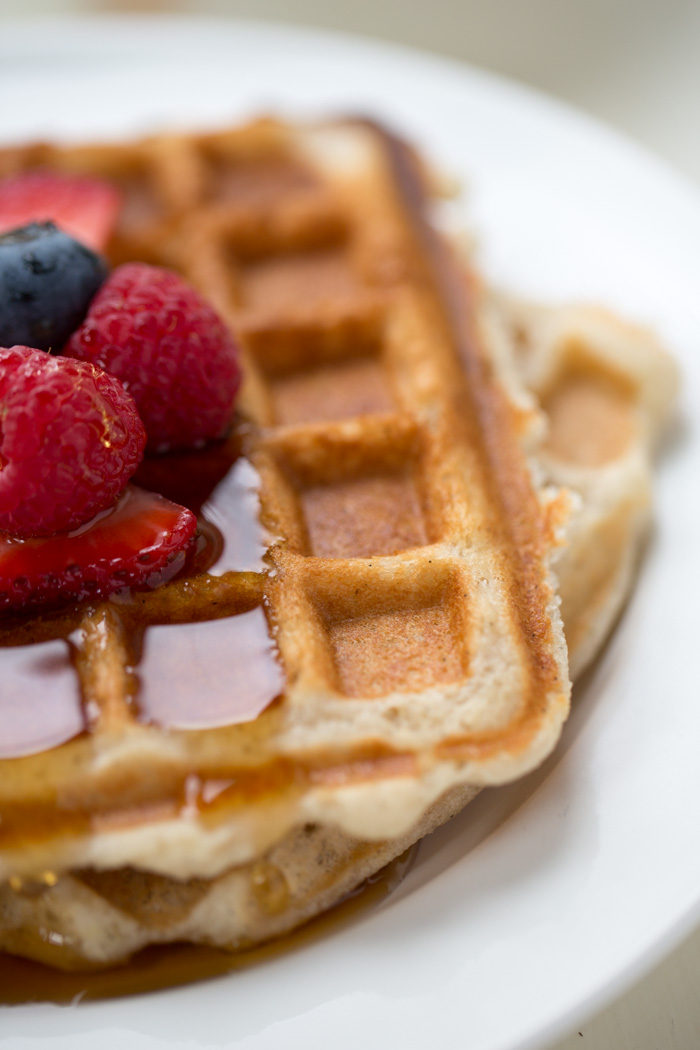 Crowd-Pleasing, Light & Crispy Vegan Vanilla Waffles - The best vegan waffle I've had. Golden-brown, crispy, light, tender, full of flavor (especially with those appealing vanilla bean flecks). Plus, only 6 ingredients and 1 bowl!