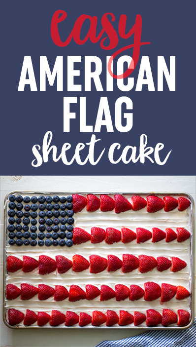 American Flag Sheet Cake - With easy vegan option. Moist chocolate sheet cake smothered in vanilla buttercream and decorated with berries. A crowd-pleaser that is as cute as it is delicious! #americanflagcake #flagcake
