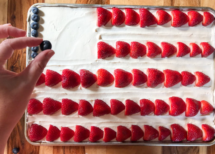 American Flag Sheet Cake - With easy vegan option. Moist chocolate sheet cake smothered in vanilla buttercream and decorated with berries. A crowd-pleaser that is as cute as it is delicious!
