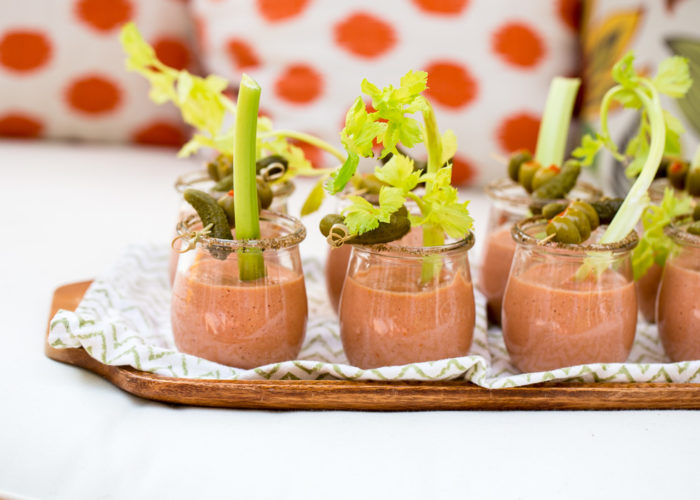 Bloody Mary Gazpacho Shooters - The refreshing chilled tomato soup meets a classic cocktail, the Bloody Mary. No booze needed to get the vibe going here! Love passing this perfect summer party appetizer. Vegan.