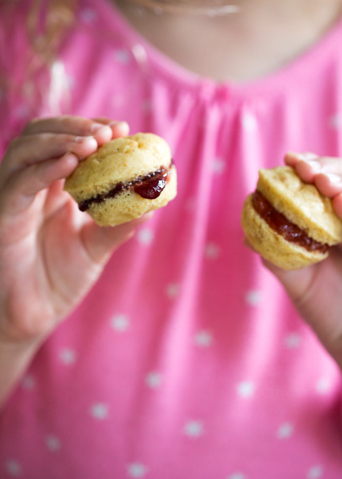 PB&J Mini Muffin Sandwich recipe - Perfect for lunch boxes or grab-and-go breakfasts, these mini muffins are sure to delight (almost) every kid. Dairy-free option.