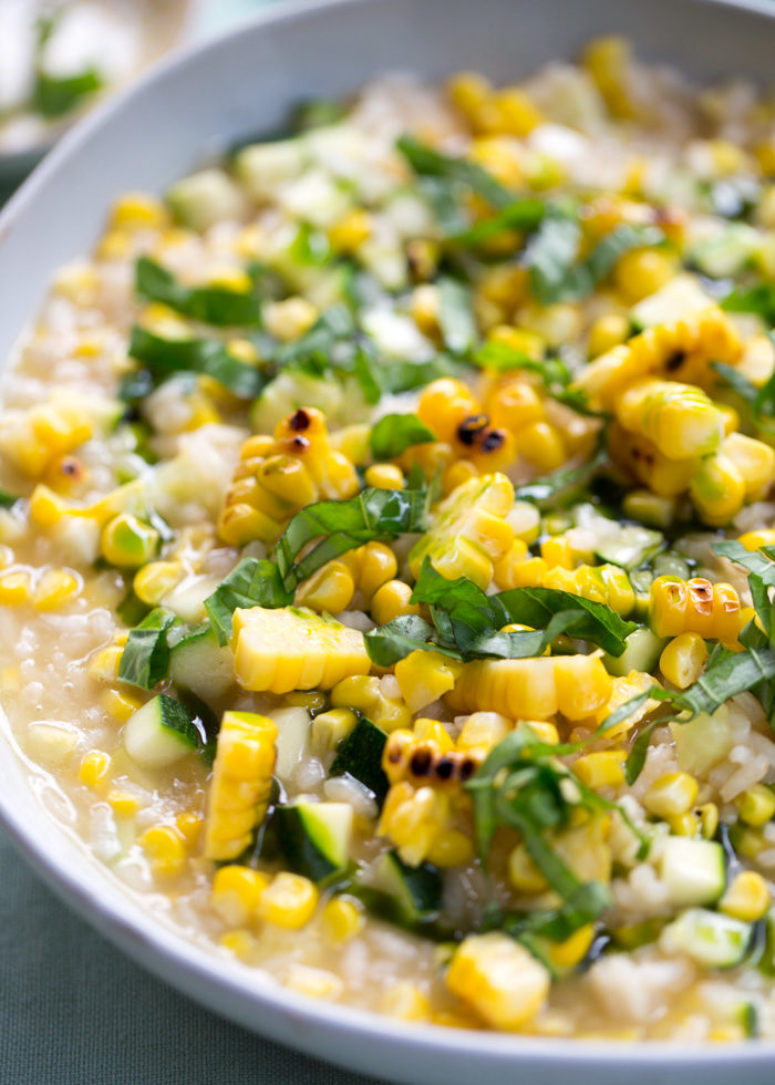 Sweet Corn & Zucchini Risotto with Basil Oil - Kitchen Treaty