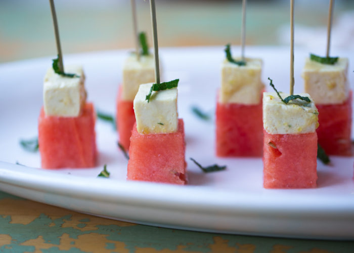 "Watermelon & Marinated Tofu ""Feta"" Skewers - Sweet watermelon paired with salty tofu ""feta"" - the perfect combo! Super easy and simple; I love this summertime appetizer."