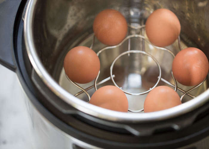 Eggs ready to cook in the Instant Pot