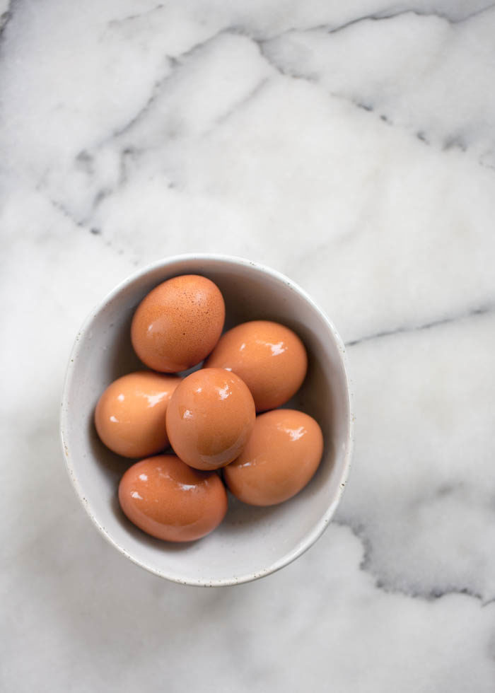 Bowl of hard-boiled eggs cooked in the Instant Pot