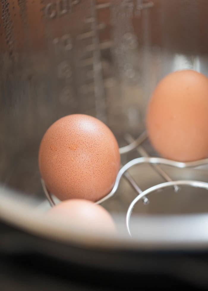 Eggs cooking in the Instant Pot