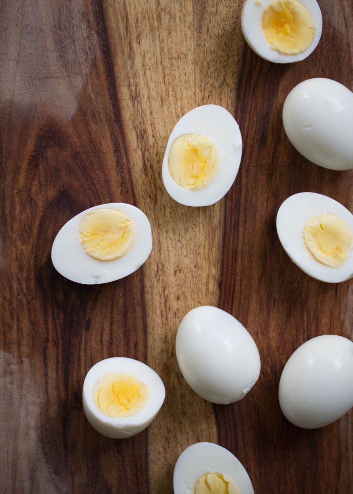 Hard-boiled eggs cooked in the Instant Pot, sliced in half