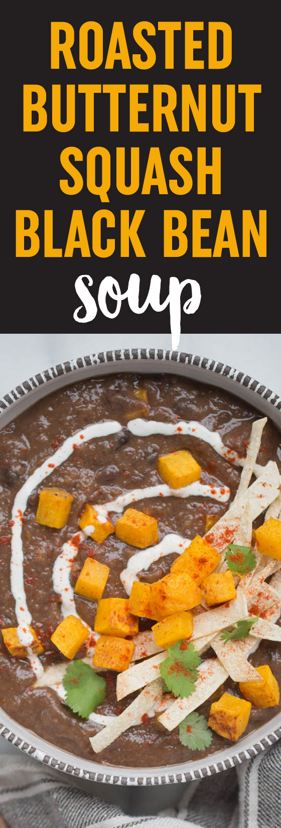Roasted Butternut Squash Black Bean Soup is a hearty, warming soup that's perfect for chilly fall and winter evenings. Packed with protein, so easy to make, and extremely satiating. #vegansoup #veganfallsoup #easysoup