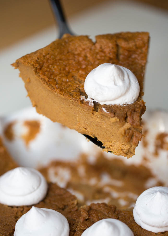 The easiest pumpkin pie you'll ever make! Crustless and delicious. With gluten-free option. Just dump into the blender, pour into your pie pan, and bake. #impossiblepumpkinpie #dairyfreepumpkinpie #pumpkinpiewithcoconutmilk #dairyfreethanksgiving