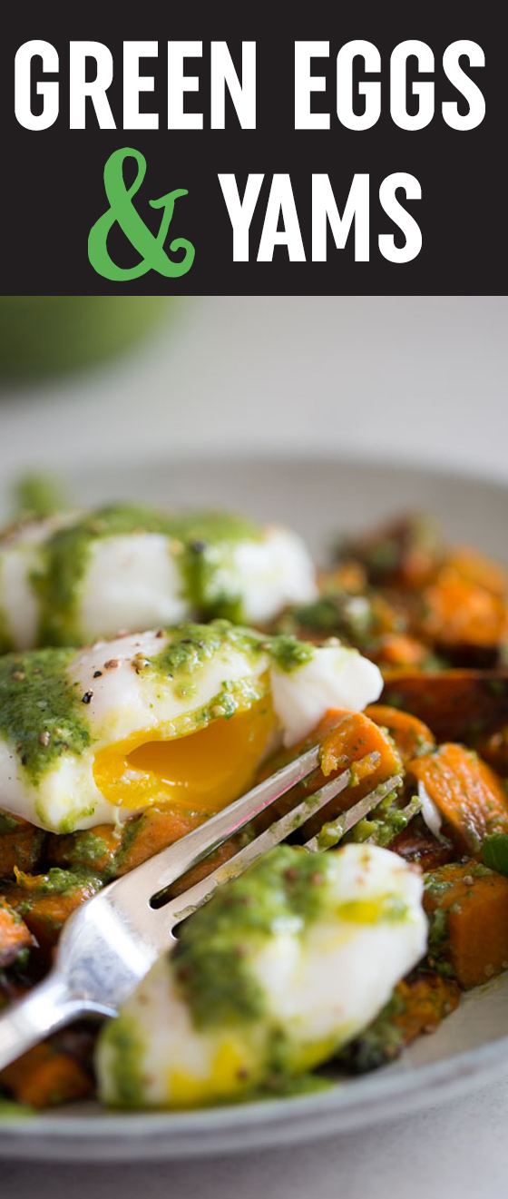 Green Eggs & Yams - Pesto-smothered roasted yams (or sweet potatoes), topped with an egg and drizzled with more pesto. In this case, it's easy being green!