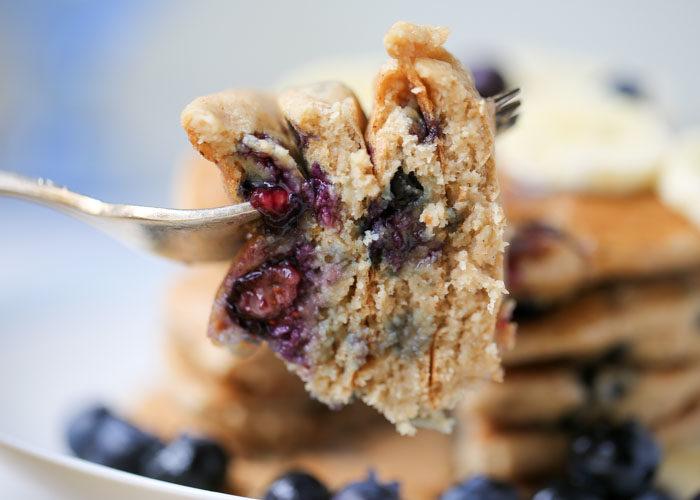 Blueberry Banana Oat Blender Pancakes - Gluten-free, vegan, made right in the blender for super-easy clean-up. #glutenfreepancakes #veganpancakes
