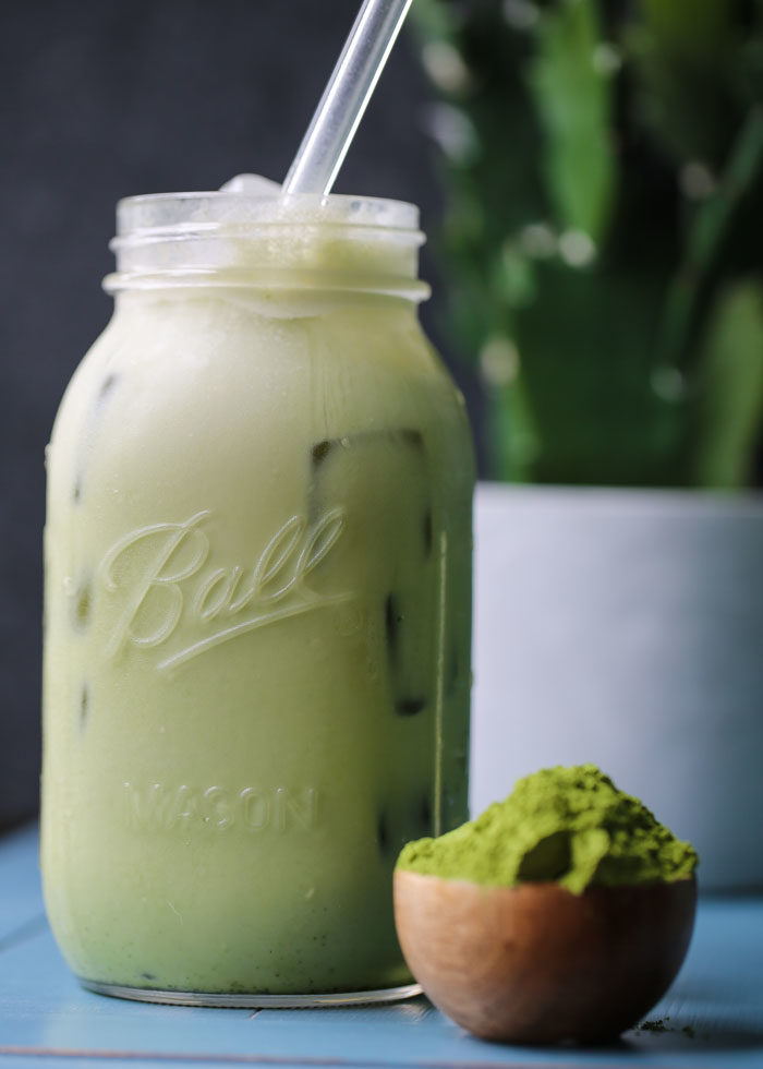 Such an easy recipe! Simply dissolve the matcha right in your mason jar, add the remaining ingredients, screw on the lid, and shake shake shake! Then just plop in a straw and drink for instant energy.