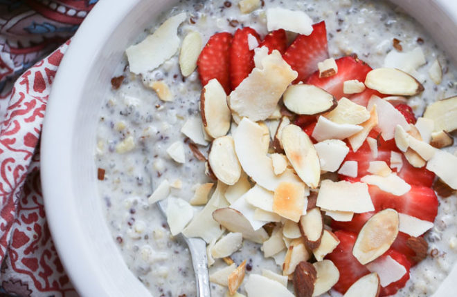 Strawberry & Toasted Almonds Overnight Grains
