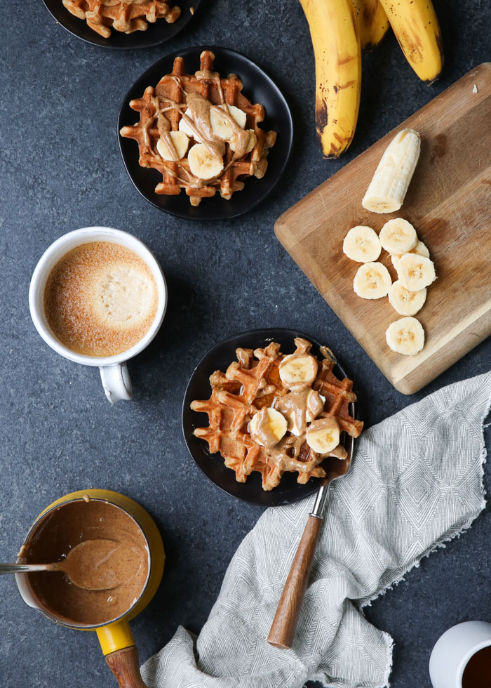 Vegan Banana Almond Butter Waffles - Light, crisp, buttery, delicious! #veganwaffles