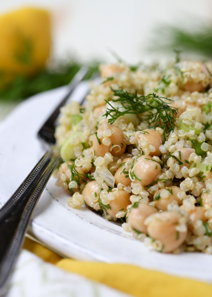 Simple Lemon Dill Quinoa Chickpea Salad - This salad comes together quickly and easily, with only a bit of chopping, a little stirring, and a handful of ingredients. Having this simple salad in my fridge at a moment's notice has been a godsend for me lately!