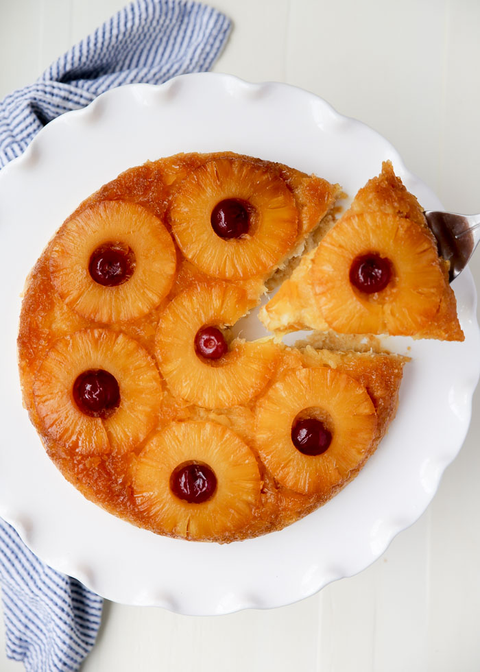 Vegan Pineapple Upside Down Cake recipe - The classic melt-in-your-mouth skillet cake with a brown sugar pineapple topping. And veganized ... but you'd never know it!