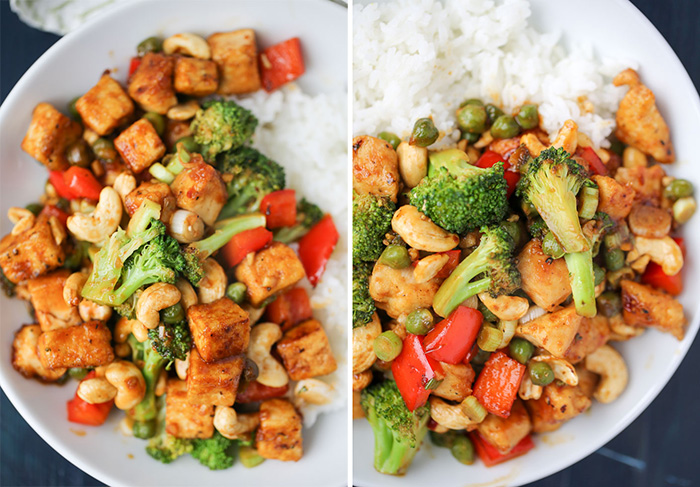 One Dish Two Ways: Cashew Veggie Stir Fry with tofu or chicken. Crisp veggies, crunchy cashews, and tofu for the vegans and chicken for the meat-eaters - all in a savory-sweet, slightly spicy sauce. This recipe cooks up in two pans at the same time, so the process can be a bit hectic. But it's well worth the effort!