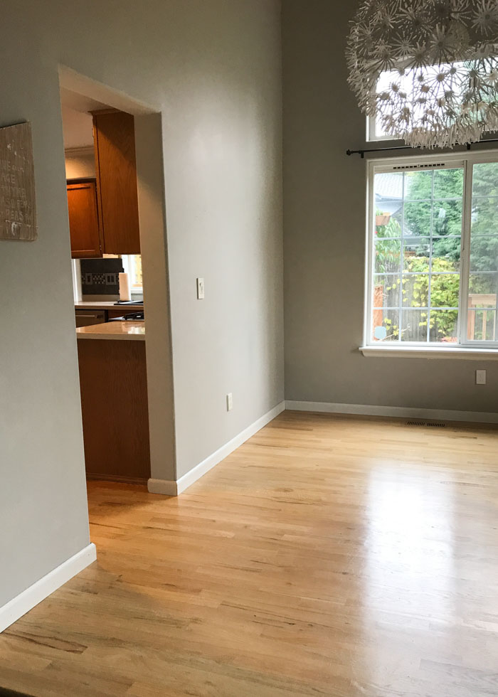 Budget-friendly white kitchen remodel (BEFORE the wall was removed!)