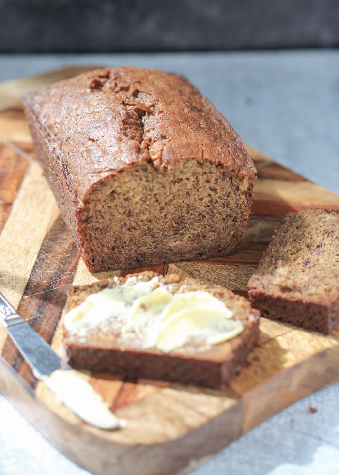Dairy-free banana bread loaf, sliced