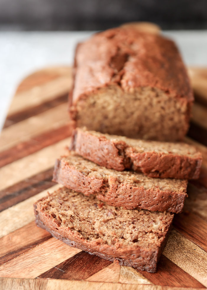 Loaf of dairy-free banana bread, sliced