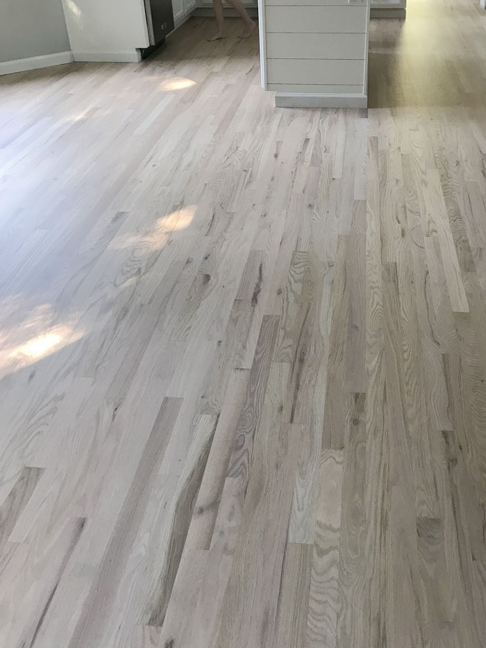 Red oak floors whitewashed with Nordic Seal and finished with Bona Traffic HD for a silky matte finish