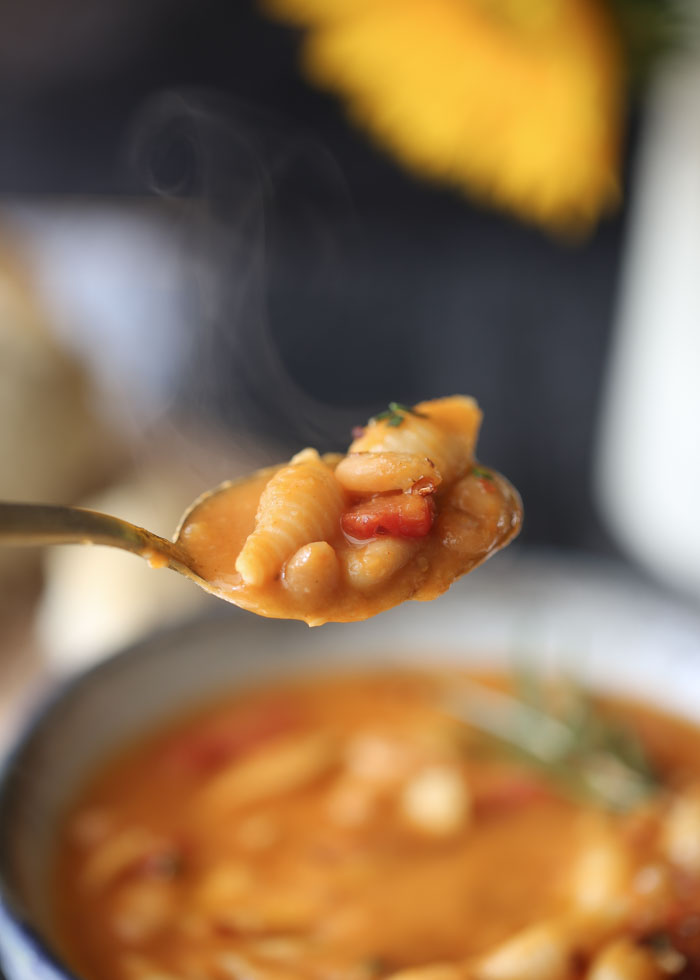 Vegan Pasta e Fagioli (Pasta Fazool) - Rosemary, garlic, and smoked paprika lend depth of flavor to this thick, creamy, dreamy pasta-and-bean soup. Drizzle with olive oil and serve with a hunk of bread and you've got just about the coziest dinner ever!