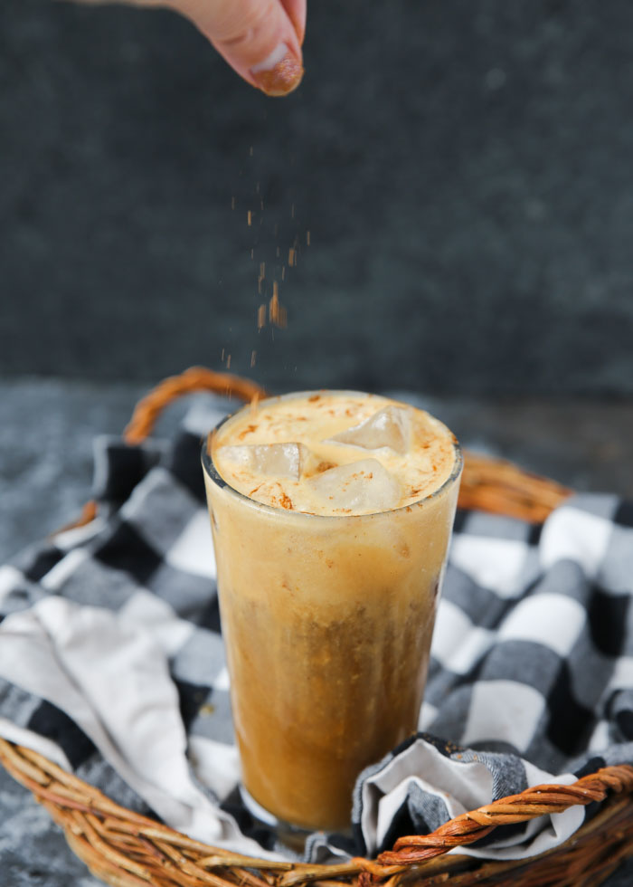 Vegan Pumpkin Cream Cold Brew recipe - A chilled coconut-milk-based pumpkin cream tops icy cold brew for the perfect bridge between summer and fall. #pumpkincreamcoldbrew