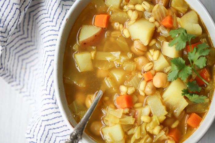 This veggie-packed soup has a lovely, easy hit of flavor thanks to curry powder. With its chickpeas, veggies, and barley, it makes for a super hearty (and delicious) dinner.