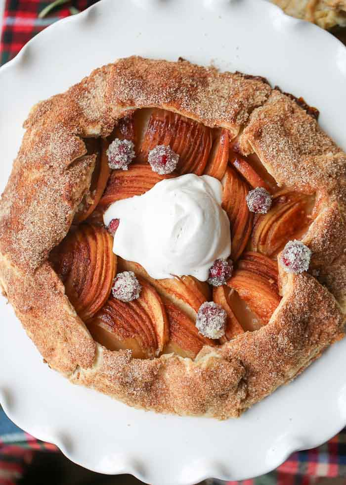 Vegan Cinnamon Honeycrisp Apple Galette - An easy yet impressive freeform tart with a tender crust, delicious thin-sliced honey crisps, and a generous dousing of cinnamon-sugar.