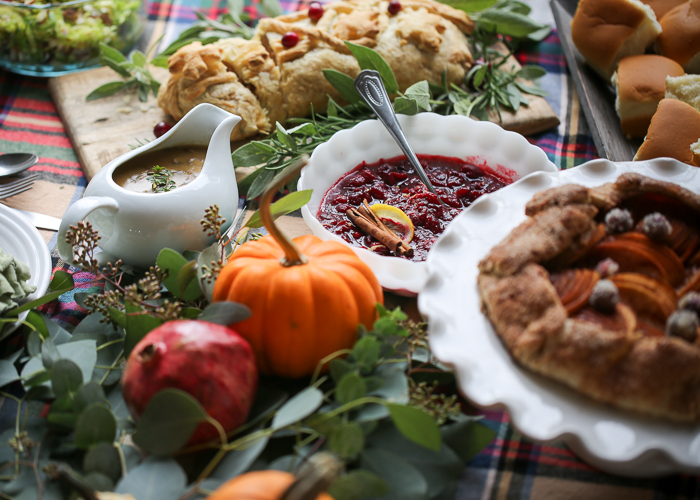 An Easy Vegan Thanksgiving Menu - Ultimate vegan Wellington, vegan mushroom gravy, maple spiced cranberry sauce, soft and fluffy vegan dinner rolls, vegan apple galette, and more!